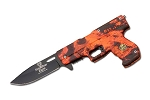 SPRING ASSIST GUN SHAPE KNIFE BRIGHT ORANGE CAMO