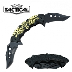 SPRING ASSISTED DOUBLE BLADE KNIFE GOLD