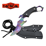 BLACK Fixed RAINBOW Blade Karambit Neck Knife