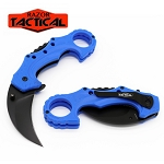SPRING ASSISTED KNIFE CURVED BLUE