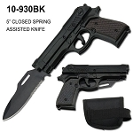 SPRING ASSISTED SLIDE ACTION GUN KNIFE W/POUCH