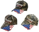 TRUMP 2020 CAMO HAT W/FLAG ON BILL ONE DOZEN