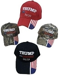 TRUMP 2020 HAT W/FLAG ON BILL ONE DOZEN
