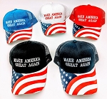 MAKE  AMERICA GREAT AGAIN HAT W/FLAG ON BILL (ONE DOZEN)
