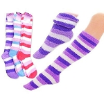 LONG FUZZY SOCKS WITH STRIPES (DOZEN)