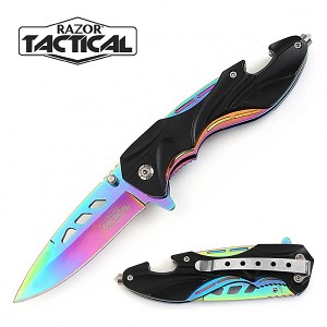 SPRING ASSISTED KNIFE BLACK W/RAINBOW BLADE