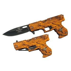 SPRING ASSIST GUN SHAPE KNIFE ORANGE CAMO