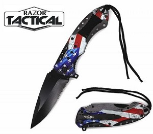 SPRING ASSISTED KNIFE USA FLAG